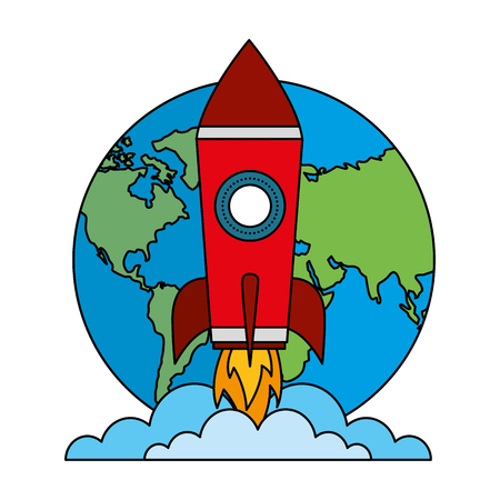 startup rocket with earth planet isolated icon vector illustration design Vector Illustration