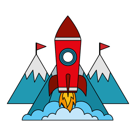 startup rocket with mountains isolated icon vector illustration design
