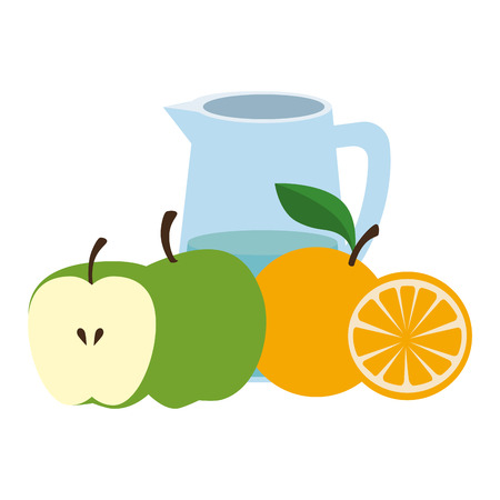 fresh fruits and water jar vector illustration design Ilustracja