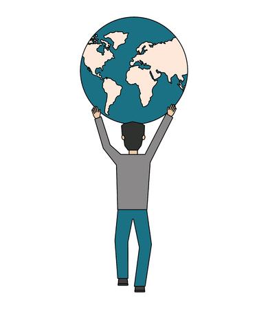 homme d & # 39; affaires avec la planète terre icône isolé illustration vectorielle conception