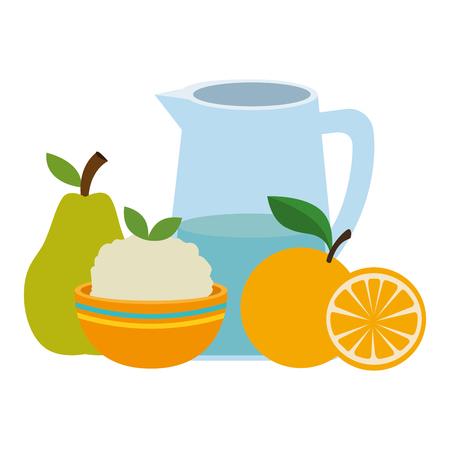 fresh fruits and rice with water jar vector illustration design Ilustração
