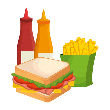 delicious sandwish with sauces and french fries vector illustration design Ilustrace