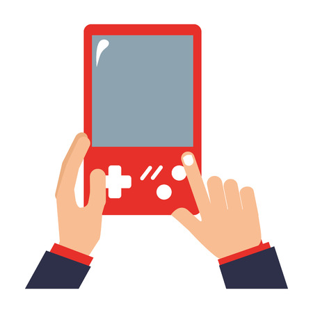 hands with video game portable isolated icon vector illustration design