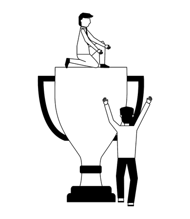 businessmen with trophy award cup isolated icon vector illustration design