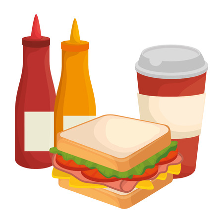 delicious sandwish with soda and sauces vector illustration design Illustration