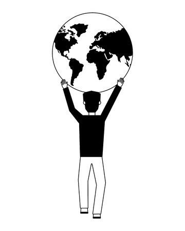 homme d & # 39; affaires avec la planète terre icône isolé illustration vectorielle conception Vecteurs