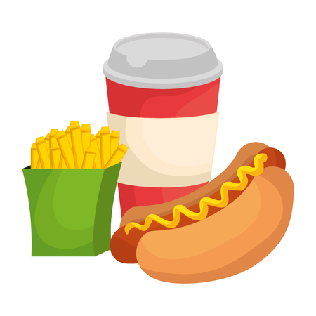 delicious hot dog with soda and french fries vector illustration design Stock Vector - 111928164