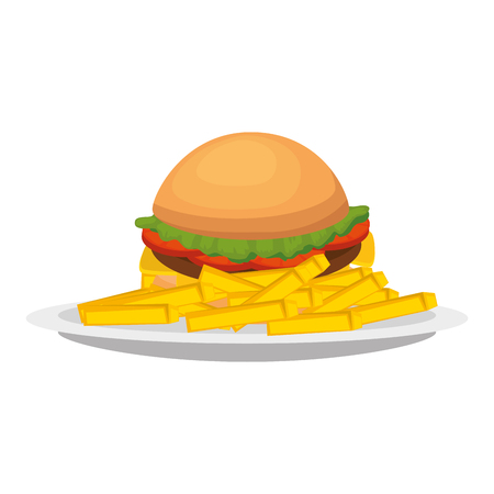 delicious burger and french fries vector illustration design Illustration