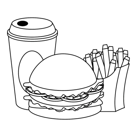 delicious burger with soda and french fries vector illustration design