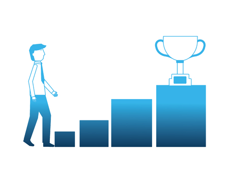 businessman with cup trophy and stairs vector illustration design Illustration