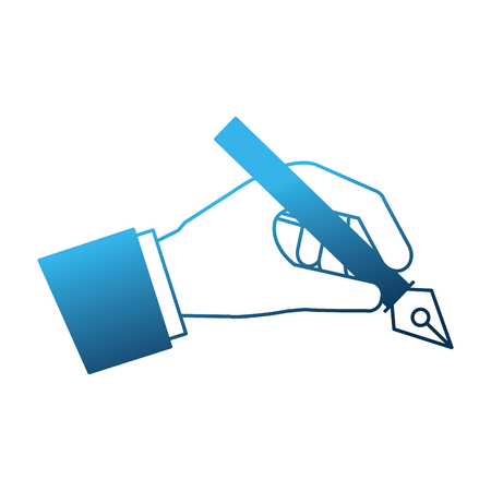 hand with fountain pen isolated icon vector illustration design