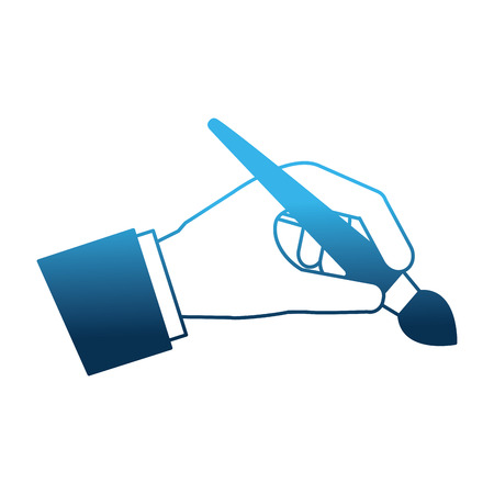 hand with paint brush isolated icon vector illustration design
