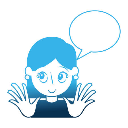 young woman with speech bubble avatar character vector illustration design Stock Vector - 111928251