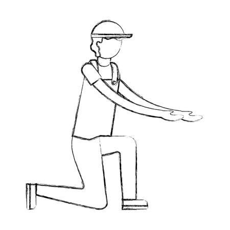 mechanic kneeling worker avatar character vector illustration