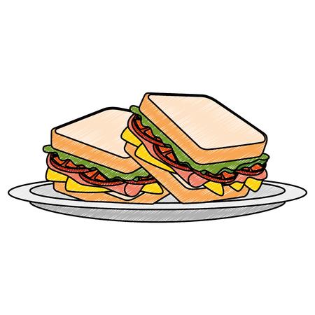 fresh and delicious sandwish vector illustration design Çizim