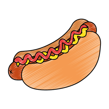 fresh and delicious hot dog vector illustration design