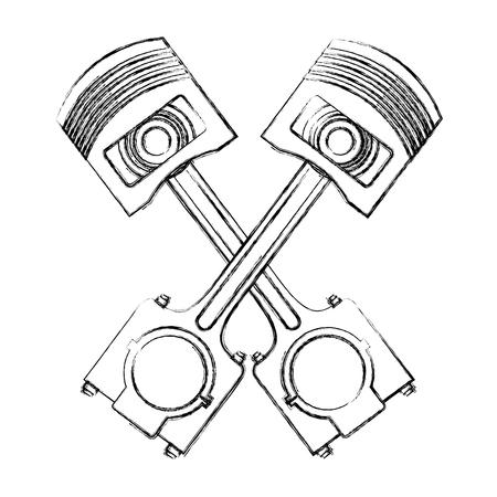pistons crossed engine pieces vector illustration design Standard-Bild - 111928273