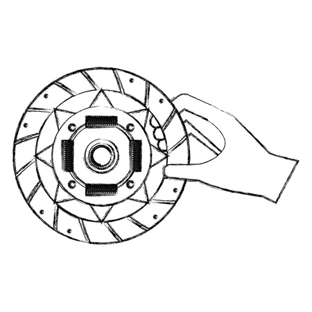 hand with clutch plate engine part vector illustration design