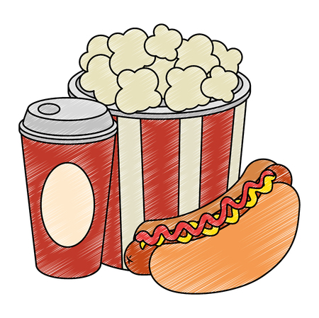 delicious hot dog with soda and pop corn vector illustration design Illustration