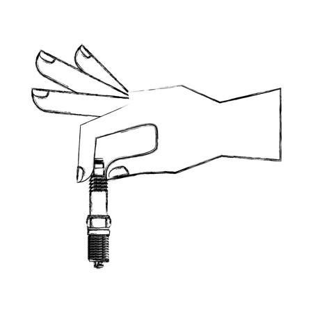 hand with spark plug engine piece vector illustration design Illustration