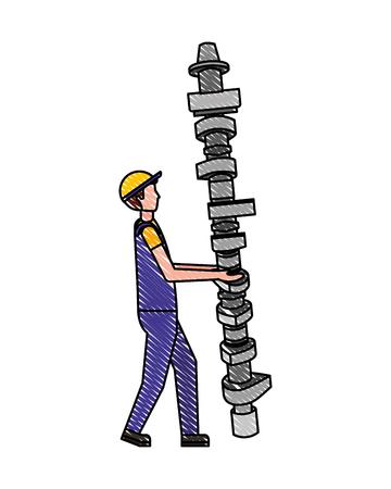 Trabajador mecánico con ilustración de vector de repuesto de biela