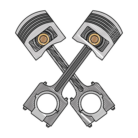 pistons crossed engine pieces vector illustration design
