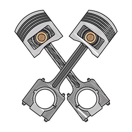 pistons crossed engine pieces vector illustration design Vektorové ilustrace