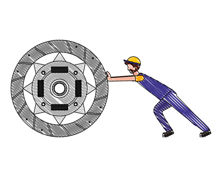 mechanic worker with clutch plate vector illustration design