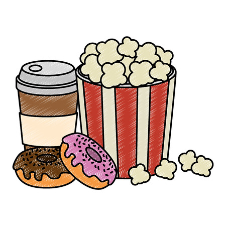 sweet donuts with coffee and pop corn vector illustration design Illustration