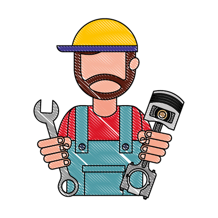 mechanic worker with piston and wrench vector illustration design