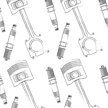 spark plug engine and piston pattern vector illustration design