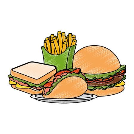 delicious fast food menu vector illustration design Çizim