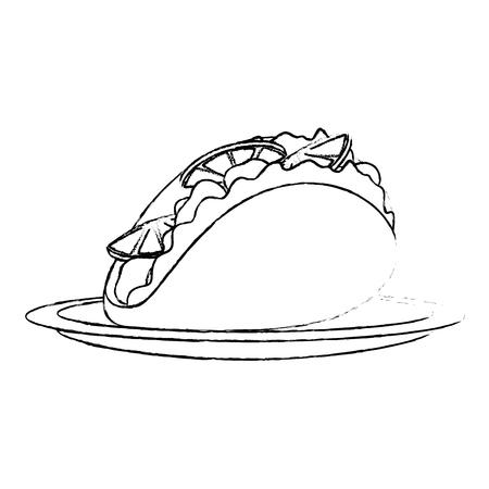 delicious mexican taco icon vector illustration design Vector Illustration