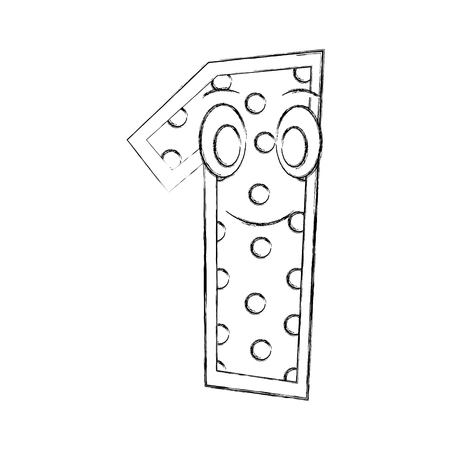 number one kawaii character vector illustration design Иллюстрация