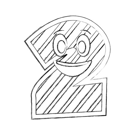 number two kawaii character vector illustration design