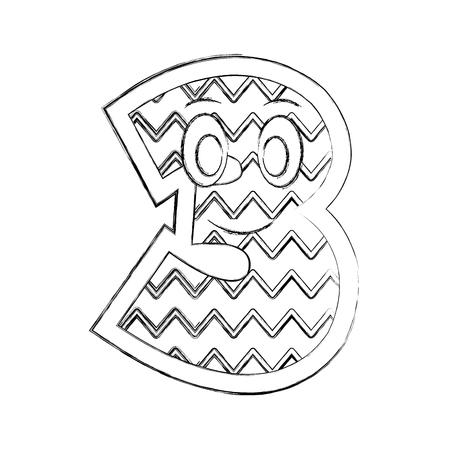 number three kawaii character vector illustration design