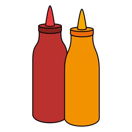 ketchup and mustard bottles vector illustration design