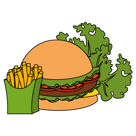 delicious burger with lettuce and french fries vector illustration design