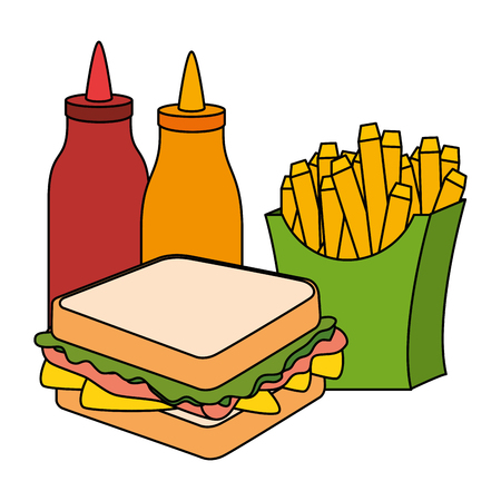 delicious sandwish with sauces and french fries vector illustration design Standard-Bild - 111928404