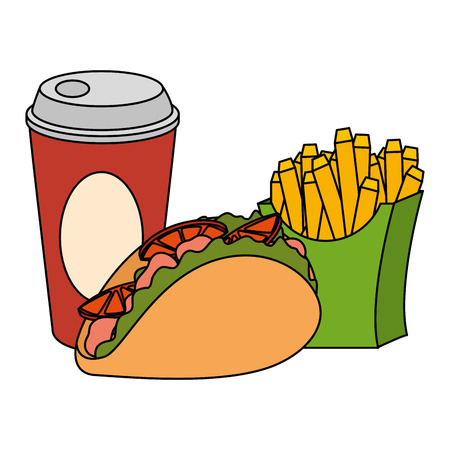 mexican taco with soda and french fries vector illustration design Illustration