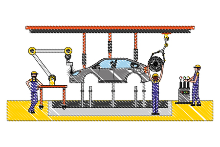 mechanic worker with assembly car machine vector illustration design