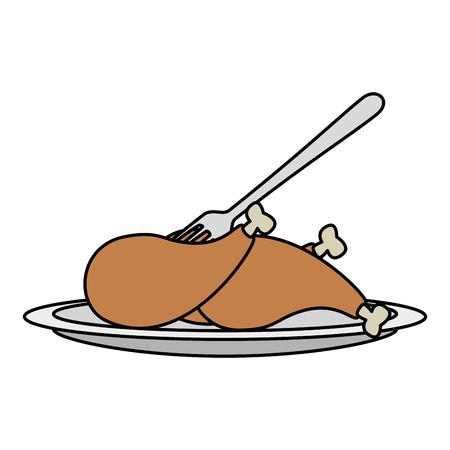 delicious chicken thighs icon vector illustration design