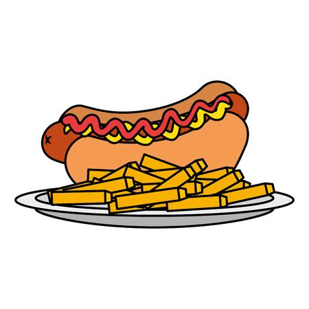 Delicioso hot dog con papas fritas, diseño de ilustraciones vectoriales Ilustración de vector