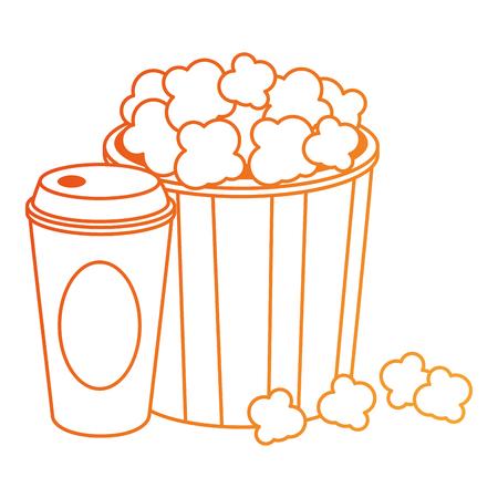 delicious pop corn and soda vector illustration design