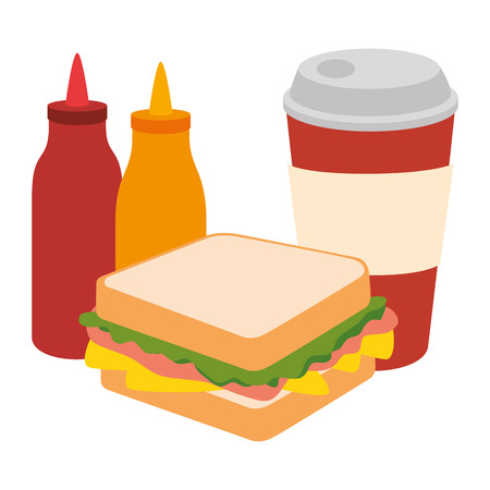 delicious sandwish with soda and sauces vector illustration design Ilustrace