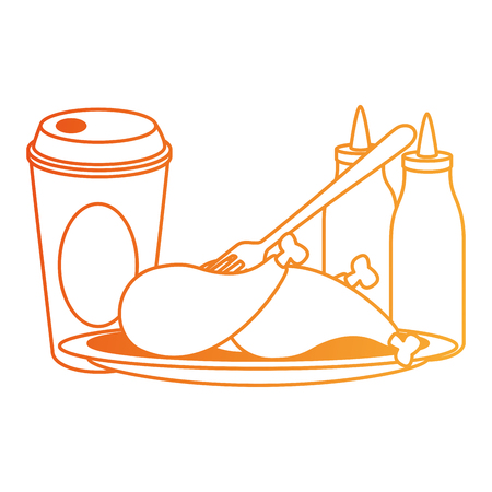 delicious chicken thighs with sauces and soda vector illustration design
