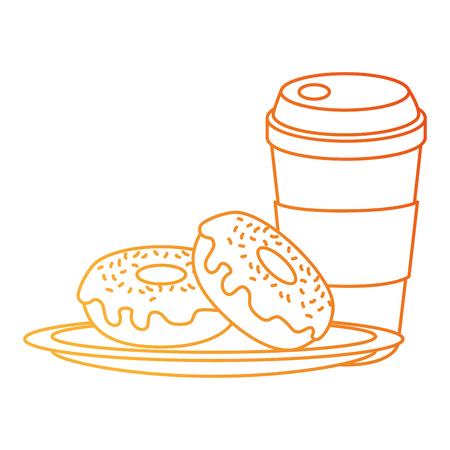sweet donuts with coffee vector illustration design Standard-Bild - 111928431