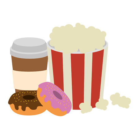 sweet donuts with coffee and pop corn vector illustration design Stock Illustratie