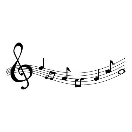 Partiture musicali note icone illustrazione vettoriale design