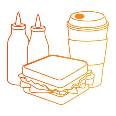 delicious sandwish with soda and sauces vector illustration design Иллюстрация